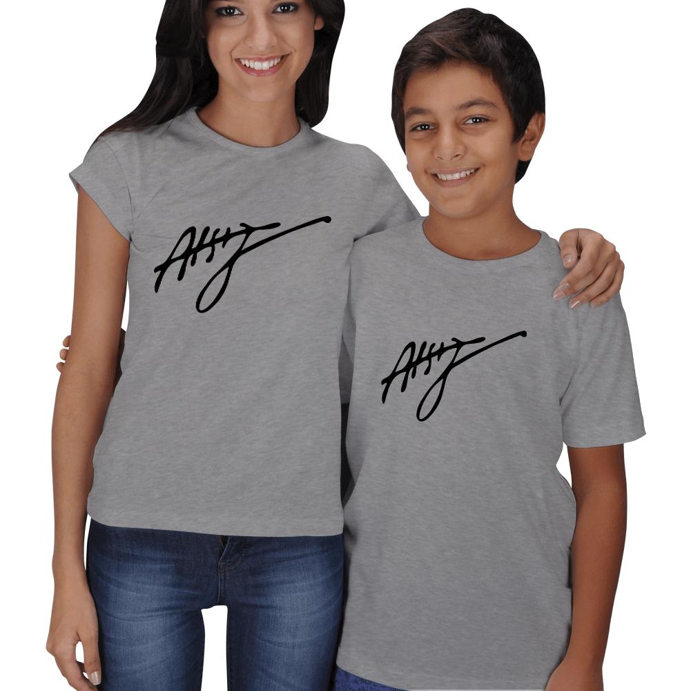 Kişiye Özel Atsız İmzalı Anne Çocuk Tişörtleri