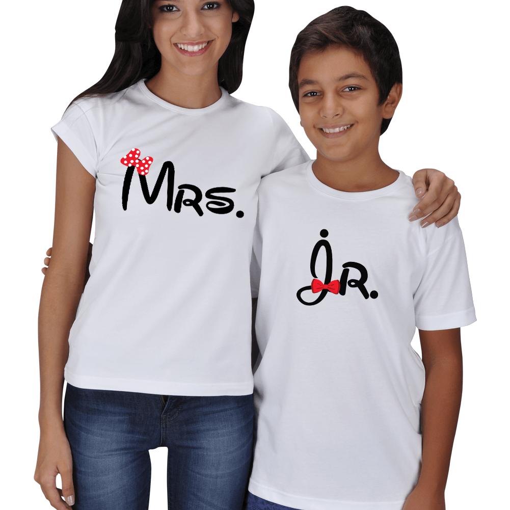 Kişiye Özel Mrs. ve Jr. Anne Çocuk Tişört Kombini