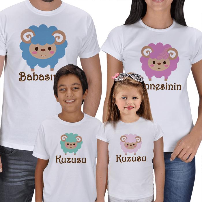 Annesinin Babasının Kuzusu 4lü Aile Tişörtleri