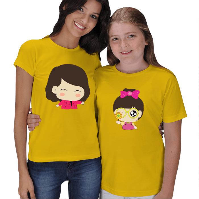 Sevimli Anne Kız Tişörtleri