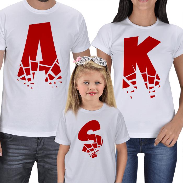 AŞK Anne-Baba-Çocuk Tişört Kombinleri