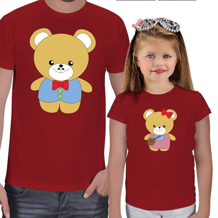 Sevimli Ayıcıklar Baba-Kız Tişört Kombini