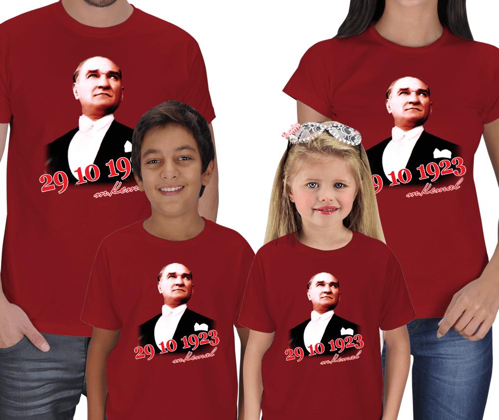 Atatürk ve Cumhuriyet Baskılı 4lü Aile Tişörtü