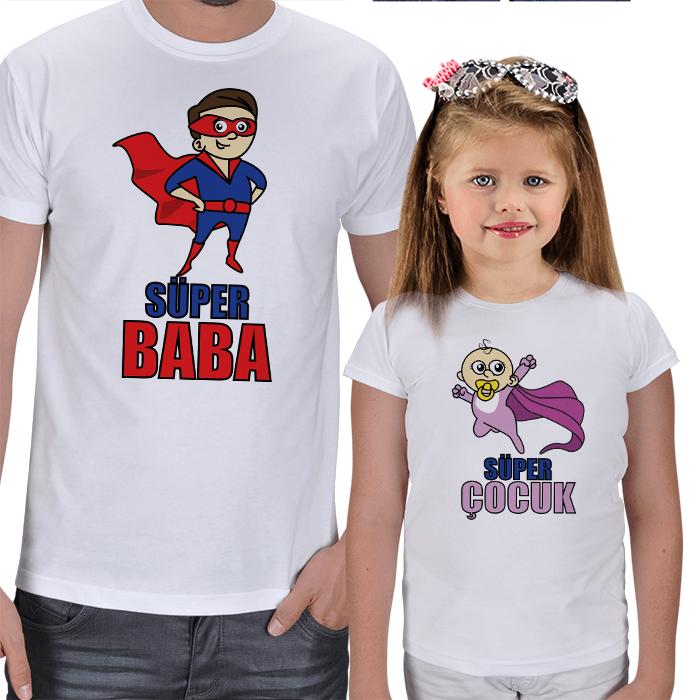 Süper Baba - Süper Çocuk 2li Tişört