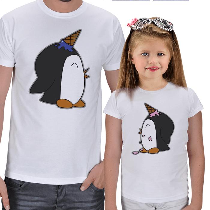 Şaşkın Penguenler Baba Kız Çocuk Tişört