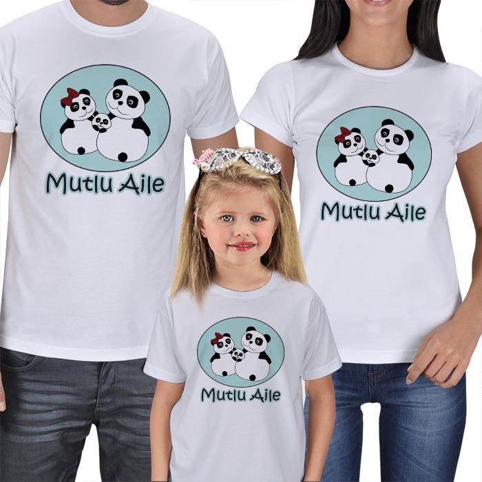 Mutlu Panda Aile 3lü Tişörtler