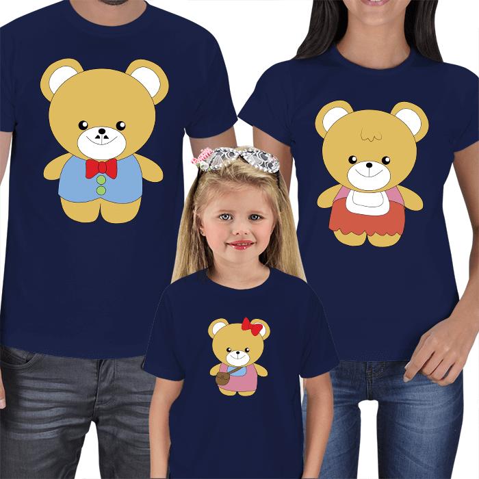 Sevimli Ayıcıklar Anne Baba Çocuk Tişört