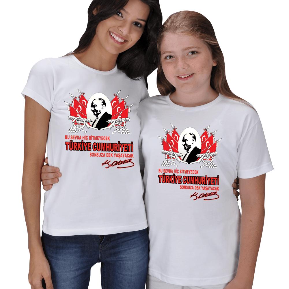 Atatürk ve Cumhuriyet Baskılı Anne Kız Tişörtü