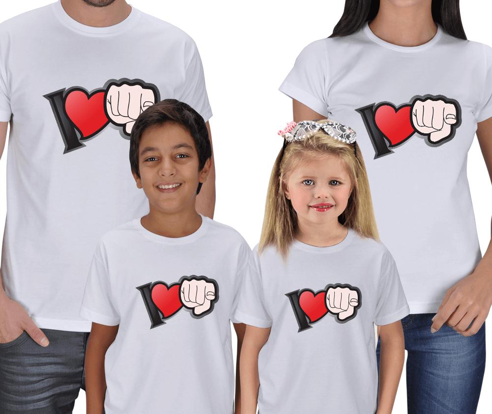 I love U - Anne Baba Çocuk T-shirtleri