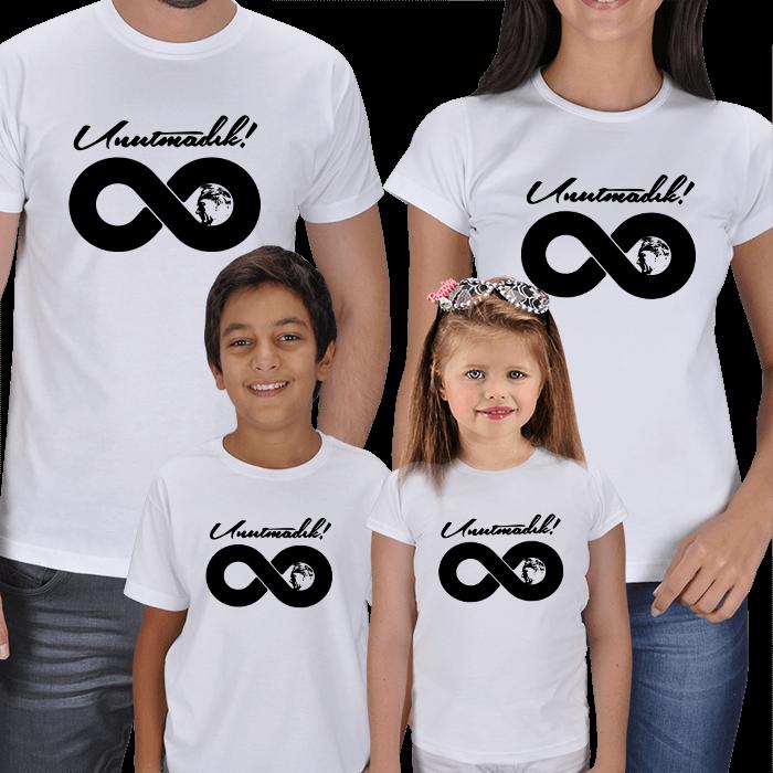 Kişiye Özel Unutmadık Atam! 4lü Aile Tişörtleri