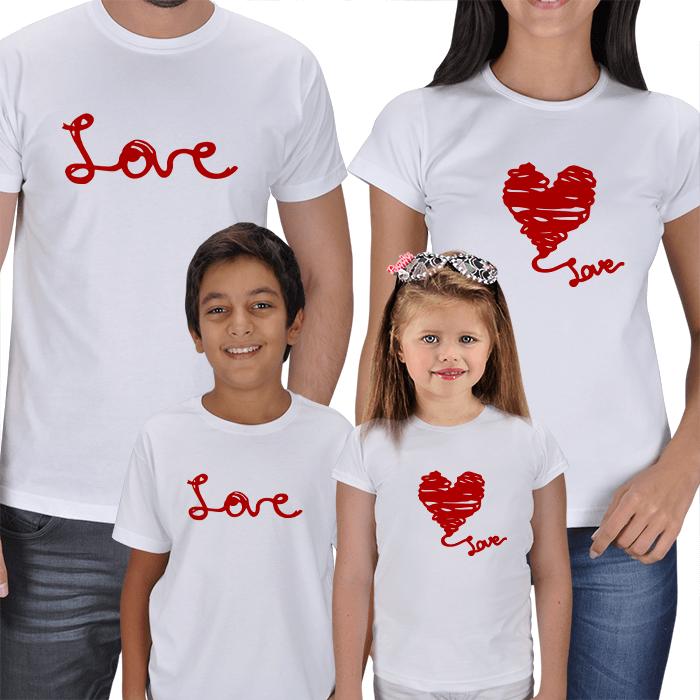 Love Baskılı Anne Baba Çocuk 4lü Tişörtler