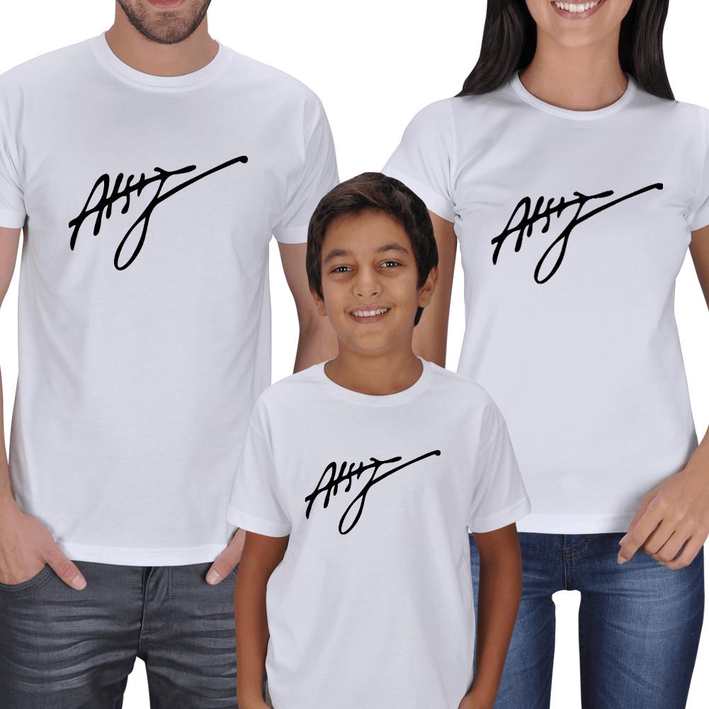 Kişiye Özel Atsız İmzalı Anne Baba Çocuk Tişörtleri