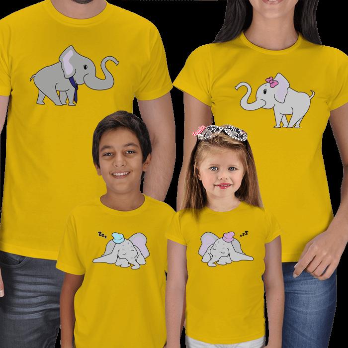 Sevimli Filler 4lü Aile Tişörtleri