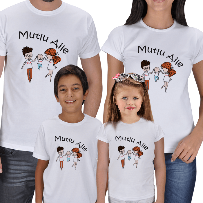 Mutlu Aile Tablosu 4lü Aile Tişörtleri