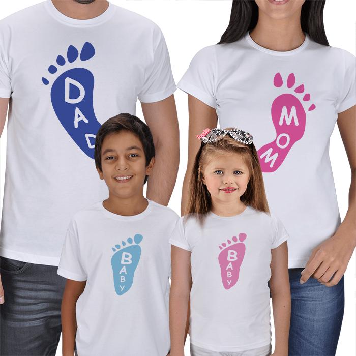 Footprint Baskılı 4lü Aile T-shirtleri