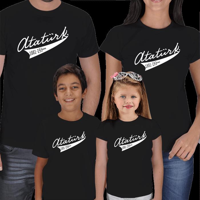 Atatürk Baskılı 4lü Aile Tişörtleri