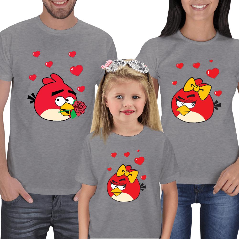 Kişiye Özel Angry Birds Anne-Baba-Çocuk Tişört Kombinleri