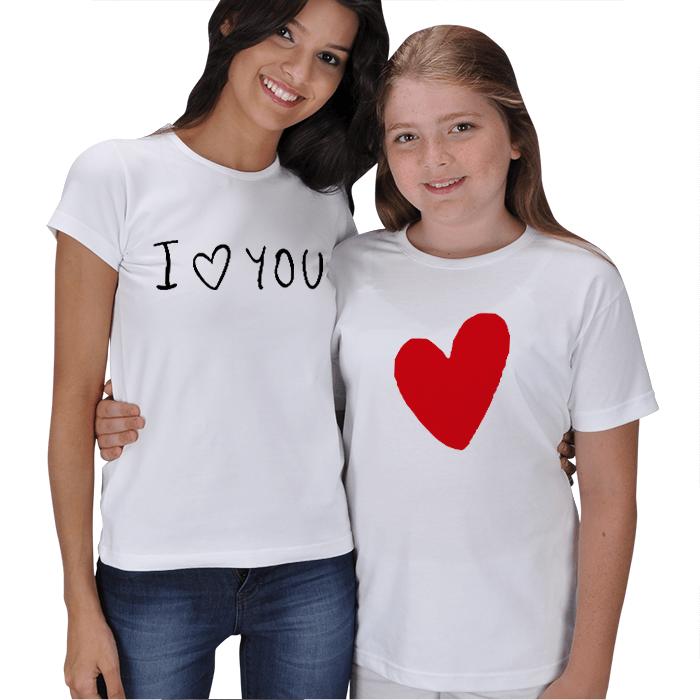 I Love You Anne Kız Tişört Kombini