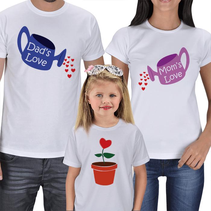 Büyüyen Sevgi 3lü Aile T-shirt