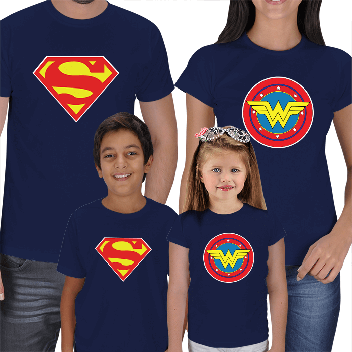 Superman and Wonderwoman- Family T-shirts
