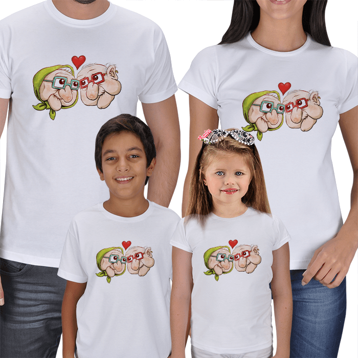 Nine Dede 4lü Aile Tişörtleri