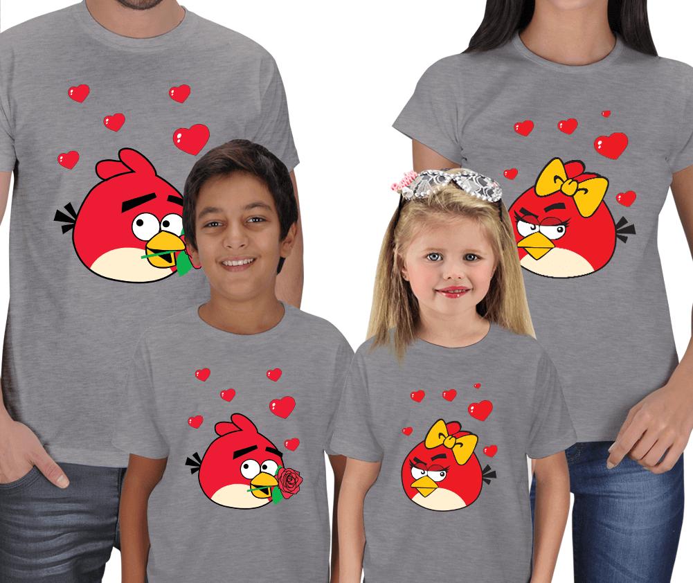Kişiye Özel Angry Birds 4lü Aile Tişörtleri