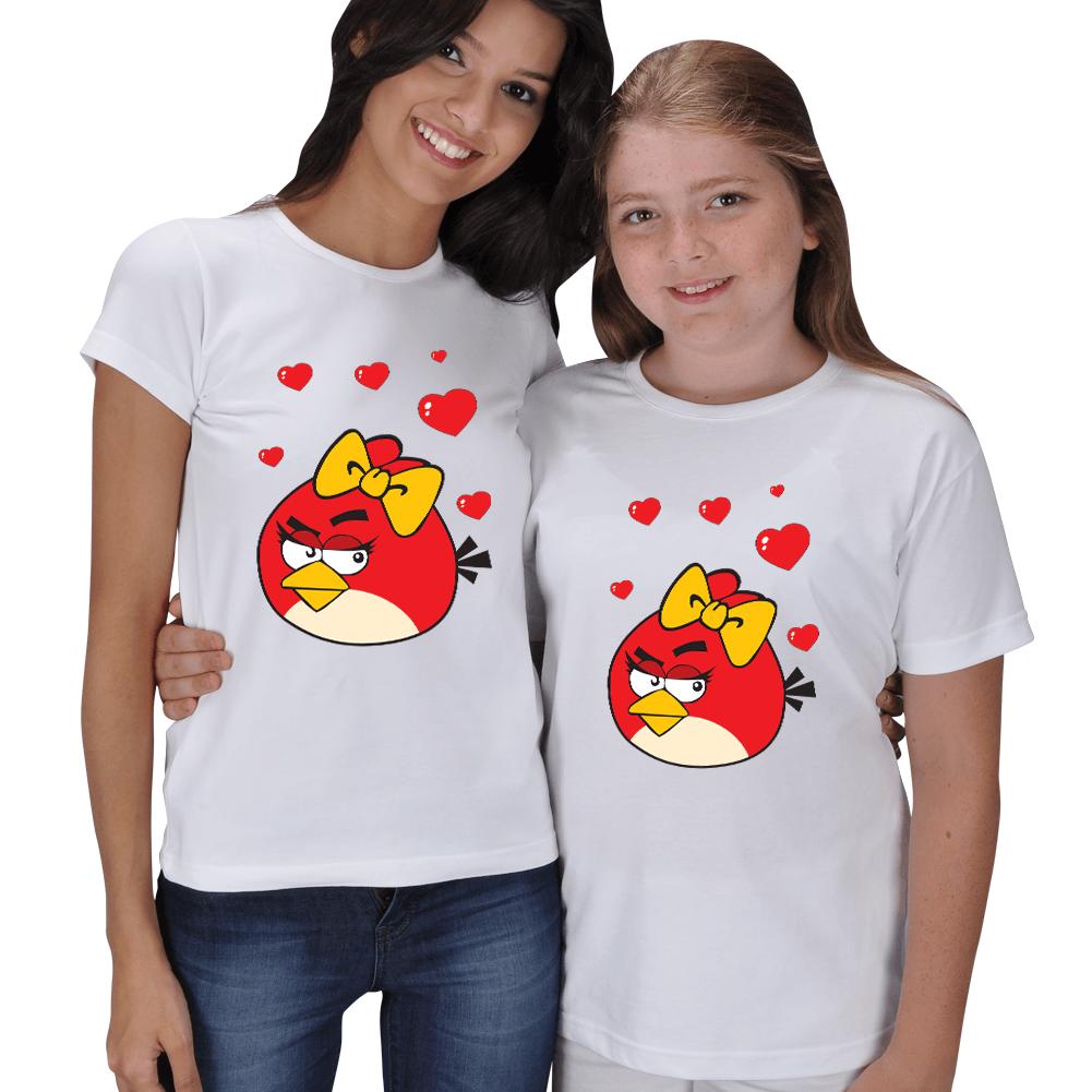 Kişiye Özel Anne Kız Çocuk Angry Birds Baskılı Tişörtleri