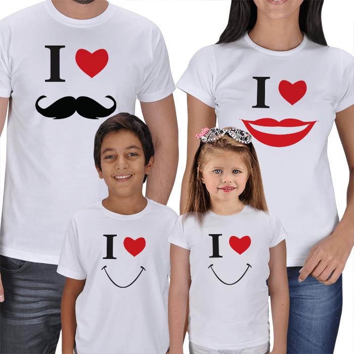 Anne Baba ve Çocuklar İçin Kombinli Tişört Tasarımları