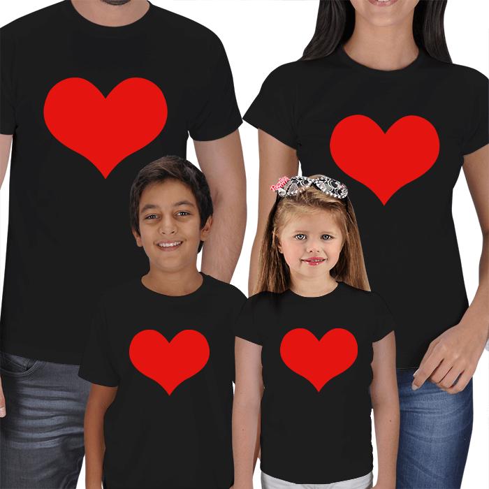 Kırmızı Kalpli Anne Baba ve Çocuk Tişörtleri