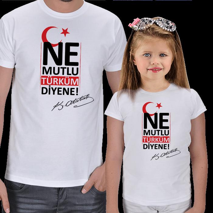 Ne Mutlu Türküm Diyene Baba Çocuk Tişört