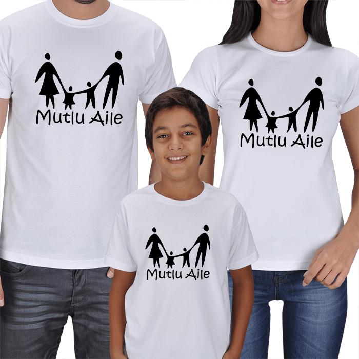 Mutlu Aile - Anne Baba Çocuk Tişörtler
