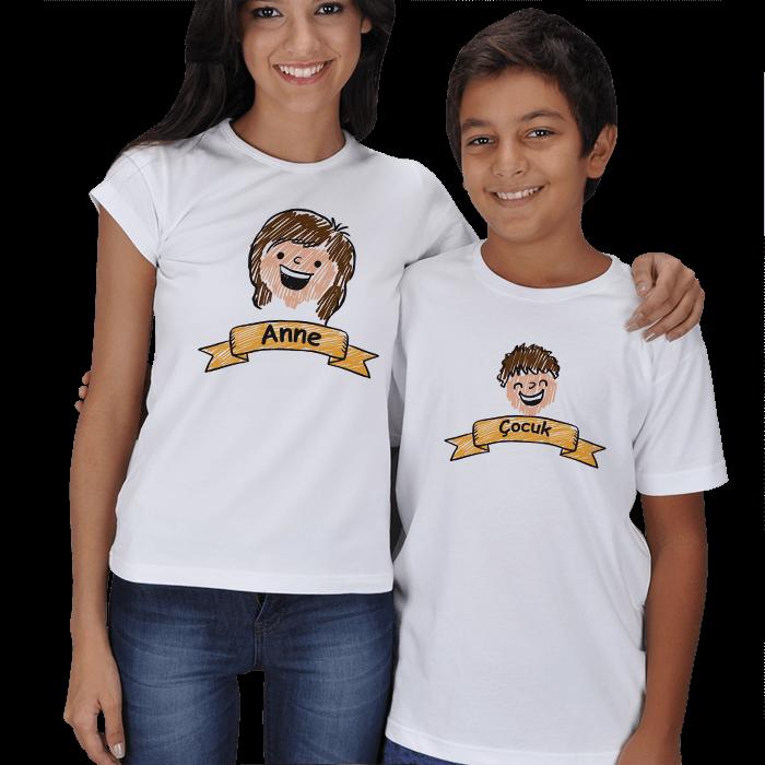 Anne Çocuk Çizimli Tişört Kombin