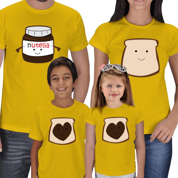 Nutella Tasarımlı 4lü Aile Tişörtü