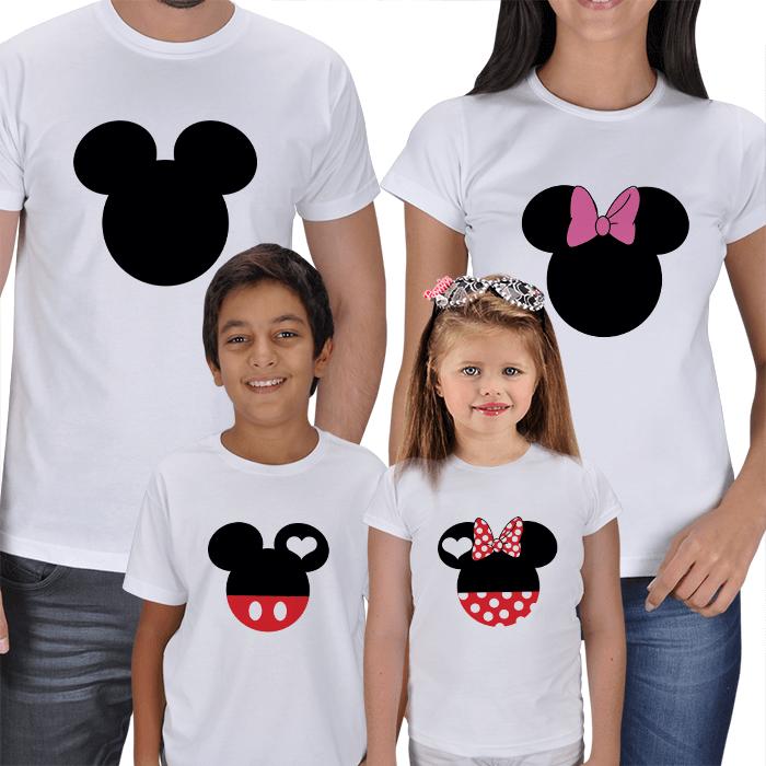 Disney Karakterler 4lü Aile Tişörtleri