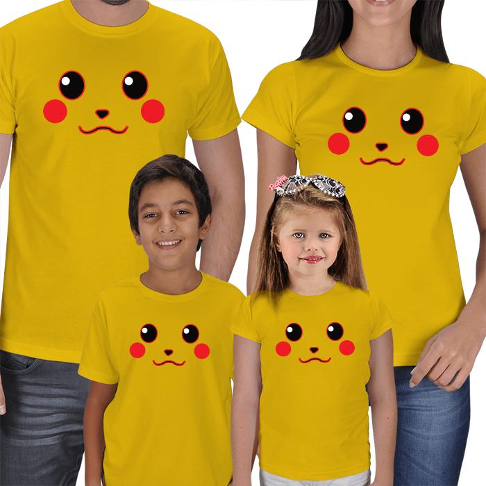 Sevimli Anne Baba Çocuk 4lü Aile Tişörtleri