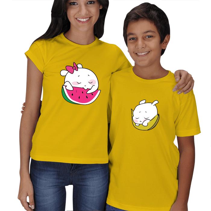 Sevimli Meyveler Anne Çocuk Tişörtleri