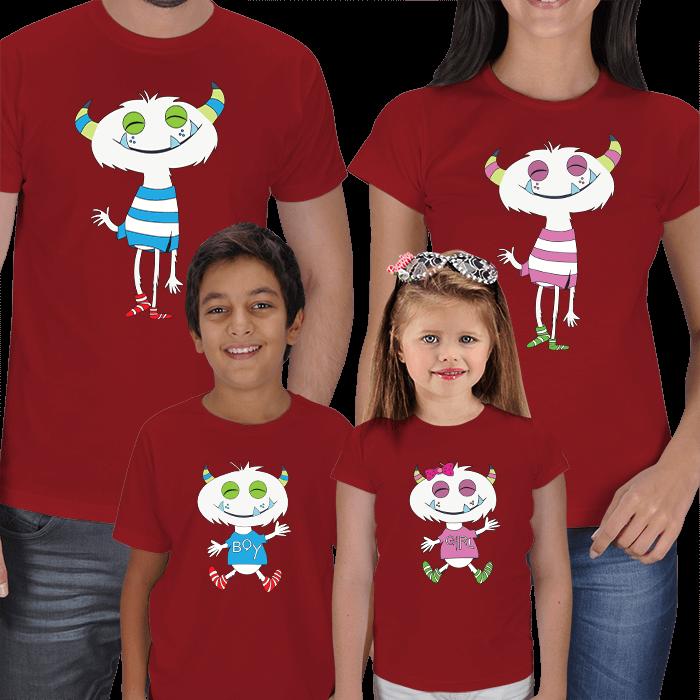 Sevimli Canavarlar 4lü Aile Kombin Tişörtleri