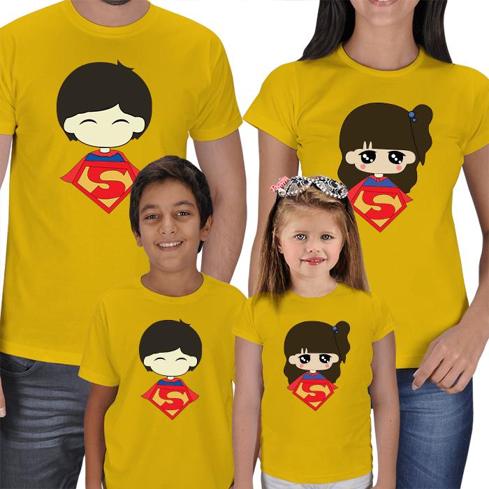 Süper Aile - 4lü Tişört Kombini