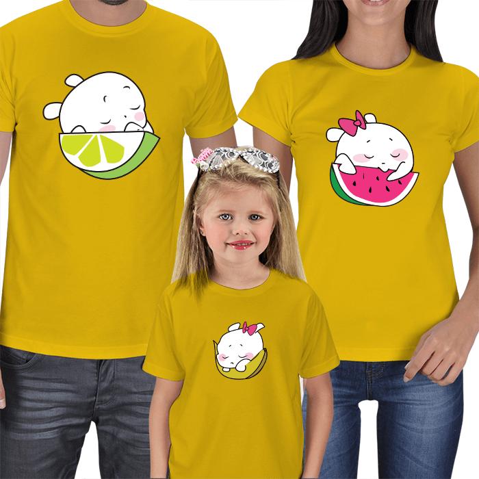 Uykucu Meyveler 3lü Aile Tişörtleri