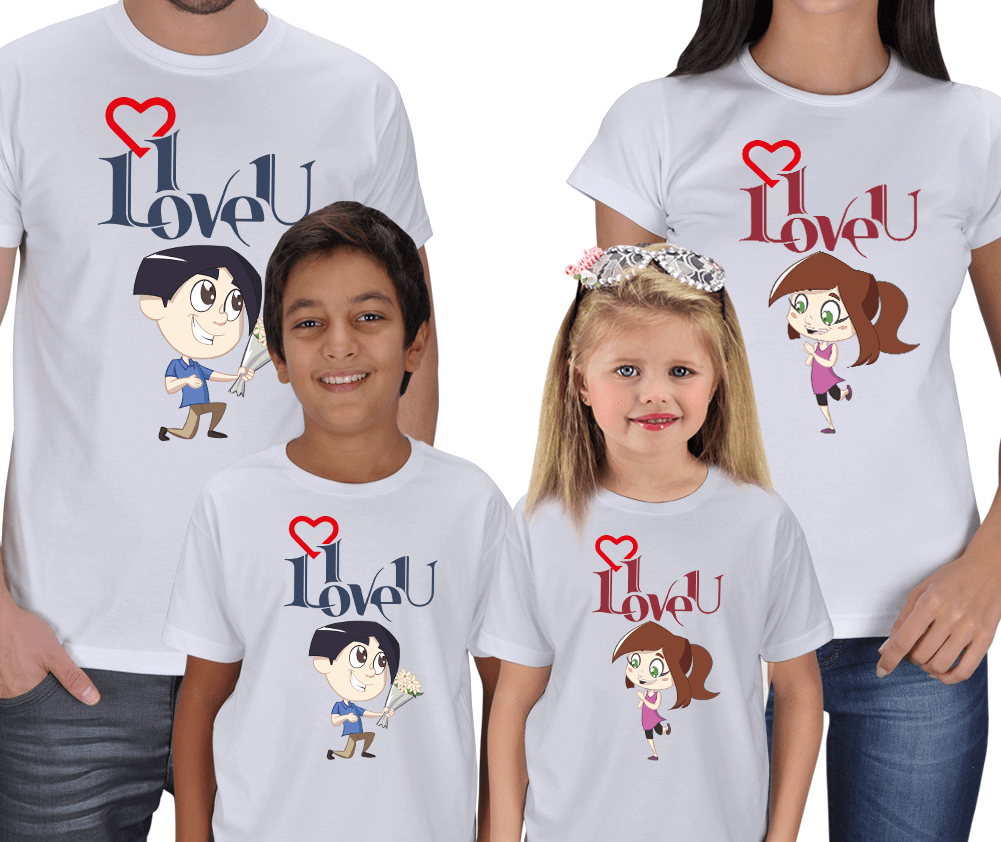 Kişiye Özel I Love You- Family T-shirts
