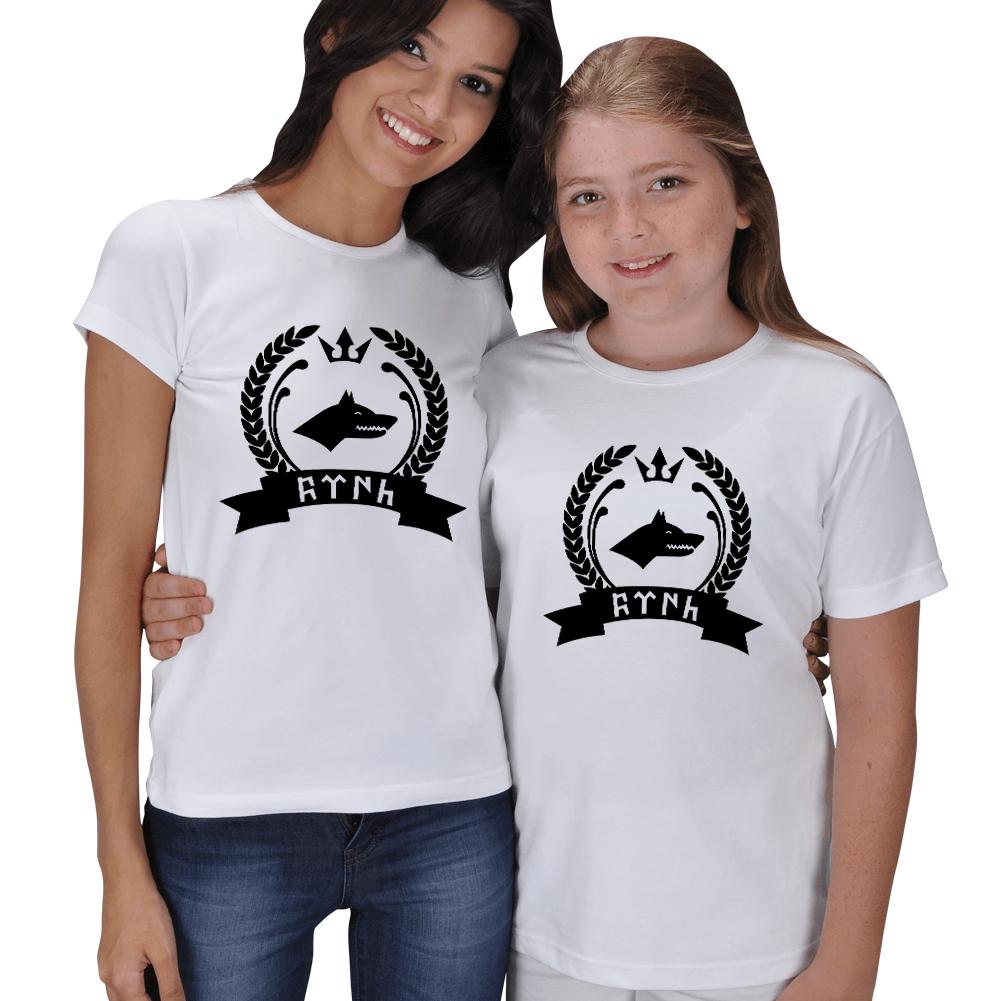 Kurt Baskılı Anne Kız Çocuk Tişörtleri