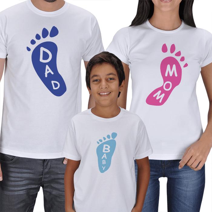Dad Mom and Kid Footprint T-shirts