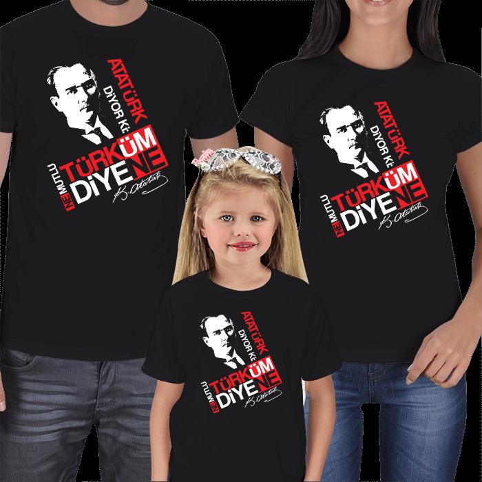 Atatürk Diyor Ki Anne Baba Çocuk Tişört