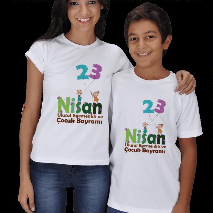 Çocuklar ve 23 Nisan Anne Çocuk Tişörtleri