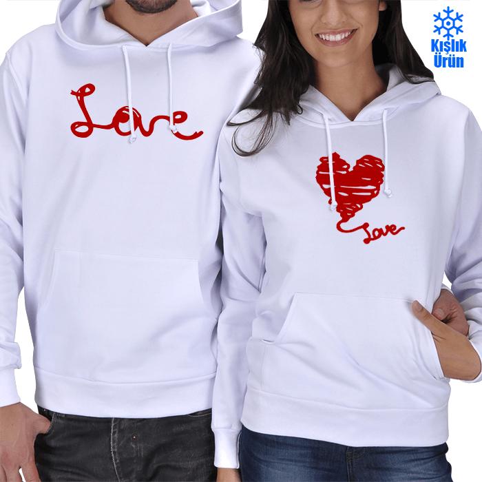 Love Baskılı Sevgili Kışlık Kombin
