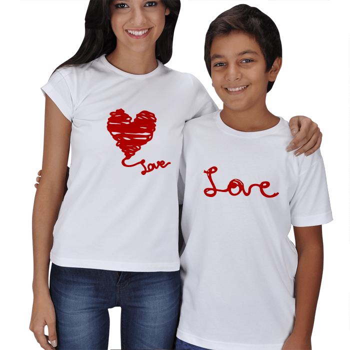 Love Baskılı Anne Çocuk Tişört
