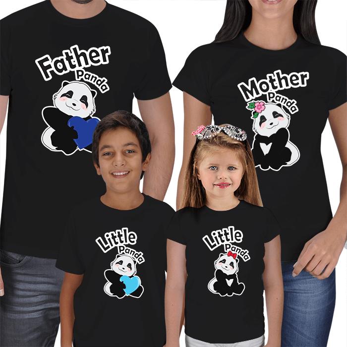 Panda Ailesi 4lü Kombinli Tişörtler