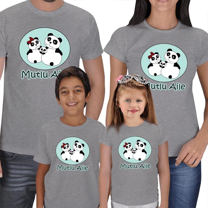 Panda Ailesi 4lü Kombin Tişörtler