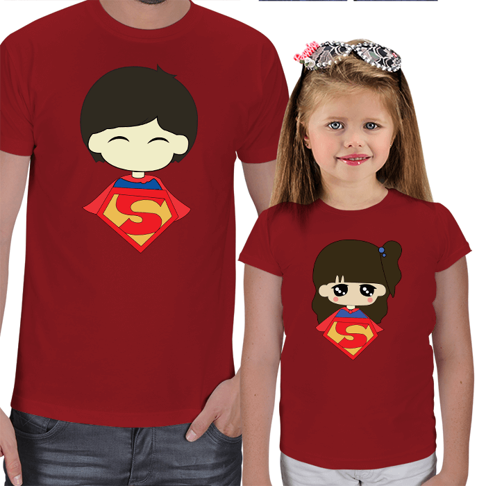 Superman and Superwoman - Baba Kız Tişörtleri
