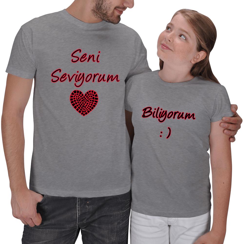 Kişiye Özel Seni Seviyorum Baba Kız Çocuk Tişört Hediyeleri